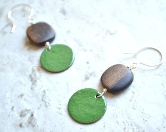 The Bauhaus- Dark Green Enamel and Wood Earrings