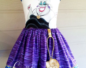 Witch of the Sea Hand Painted Girls Dress Custom Sizing 4 5 6 8 10