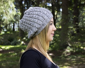 Heather Gray Slouchy Knit Hat - Gray Vegan Hat - Boho Hat - Hipster Hat - Hippie Hat - Womens Tam - Mens Beanie - Unisex Hat - Gift For Her