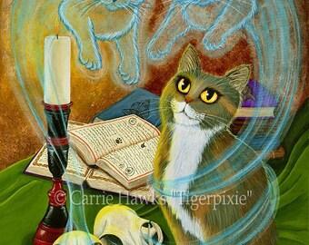 Witch Cat Art Ghosts Skulls Spells Magic Gothic Fantasy Cat Art ACEO / ATC Mini Print Cat Lover Gift