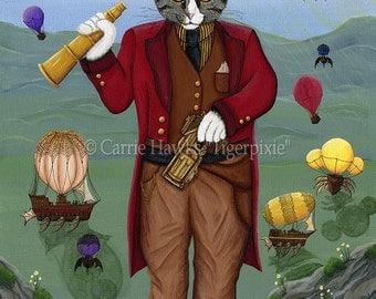 Steampunk Cat Art Victorian Cat Painting Gothic Cat Top Hat Air Ships Hot Air Balloons Fantasy Cat Art Print 5x7 Cat Lovers Art