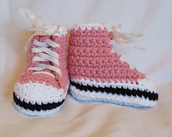 Pink Sneaker Booties, size X-Small (3 month)