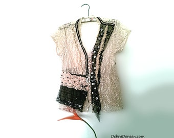 Lacy Blouse, Top, Lace, Cream, Black, Mother of Pearl, Vintage Buttons, Boho, Rustic, Romantic Clothing, Pretty