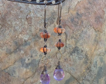 SUNSTONE and AMETHYST earrings, purple and orange Gemstone earrings, sterling silver, handmade artisan earrings AngryHairJewelry