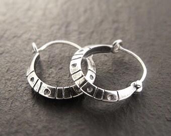 Simple Hoop Earrings in Sterling Silver - Handmade in Seattle