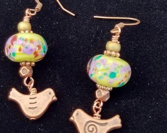 Copper and Lampwork Bird Earrings