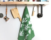 Green Hand, Dish, and Tea Towel with Cactus Hand Screen Print