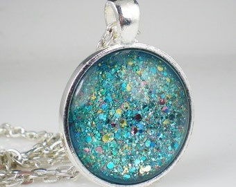Aqua Turquoise Glitter Nail Polish Necklace Jewelry Nail Polish