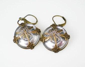 Dragonfly Earrings Silvery Czech Glass Buttons Oxidized Brass Dragonfly Jewelry