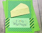 "I Love Wisconsin, Green Bay Packers, Dairy, Cheese, Cheese-Head, Note Card - 4"" by 5.5"""