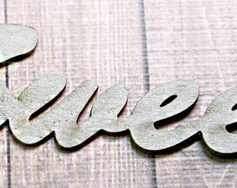 "Set of Two ""Sweet"" Chipboard Embellishments, Scrapbooking, Card Making, Craft Projects, Decor, Word, Sign, Cute - 5.5"" wide by 1.5"" tall"
