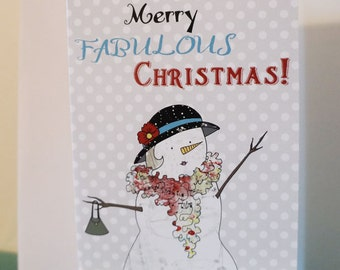 Sassy Christmas Cards , Blank Greeting Cards , Holiday Card, Snowman Cards, Whimsical Snowman