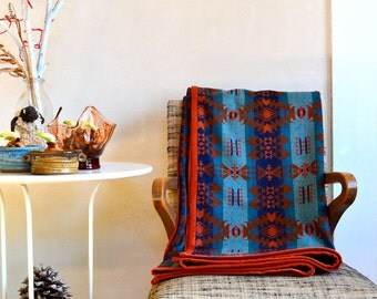 Wool Blanket Native American Inspired Design Rust Blue & Brown LIghtweight Throw