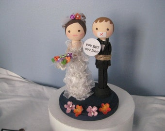 Bride and Groom  Wedding, Shower, Cake Topper, bride and groom, whimsical, strong woman, FUN, bridal shower