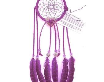 Purple Dream Catcher, Hen Pheasant Feathers