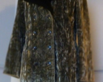60s Mod Silver Faux Fur Scooter Girl Coat fitted and flared