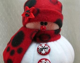 Handmade Stuffed Snowman Decoration, Christmas Holiday Decor, Snowman Christmas Ornament, Winter Decor, Little Bit in Red & Black Fleece