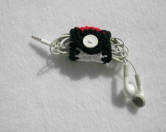 Pokeball inspired Crochet Earbud Cozy, Earphone Holder, Cord Keeper Organizer