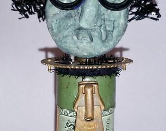 Halloween Assemblage Vintage Witch Warlock Dickie Doans Pills Altered Art Mixed Media Folk Art Primitive