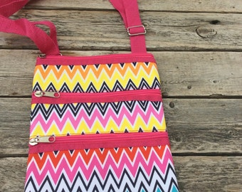 Personalized Chevron Messenger Bag - Mini Ipod Purse - Tablet Purse - Personalized Cross Body Bag -Includes Name or Monogram