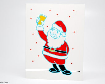 Craft Beer Christmas Card, single holiday card, Santa wants craft beer this year