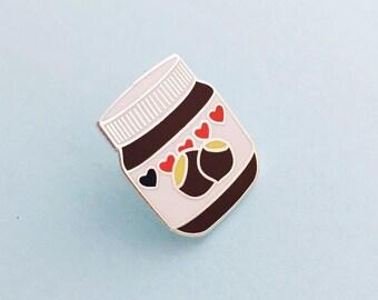 Nutella Enamel Pin Badge, Lapel Pin, Tie Pin - Chocolate Spread - Hazelnut Spread Badge