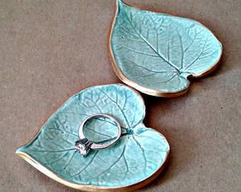 Set of TWO Aqua Leaves Small Ring Dishes edged in gold