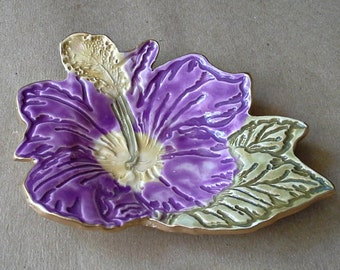 Ceramic Hibiscus  Ring holder dish Purple edged in gold