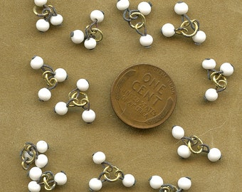 Lot of (12) White Glass Drops Vintage Dangles Brass Findings 2543 MORE AVAILABLE
