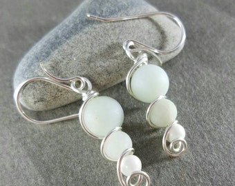 Amazonite and Howlite Silver Wire Wrapped Earrings