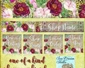 Bordeaux Blossms floral Etsy shop Banner graphics set by Sea Dream Studio  OOAK