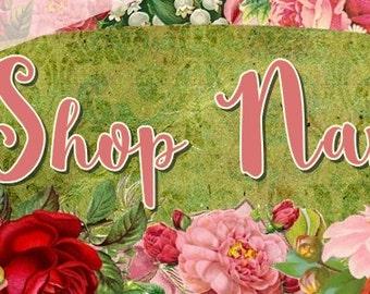 NEW Large Format Vintage Roses floral Etsy shop Banner graphics set by Sea Dream Studio  OOAK