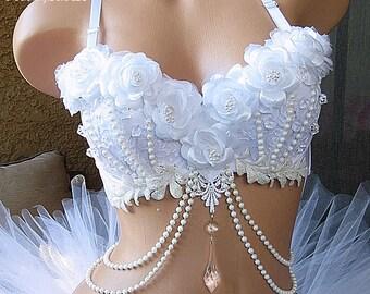 White Wonderland Rave Bra, Ice Princess, Snow Angel, Christmas EDM, Bachelorette Bridal Party Bra