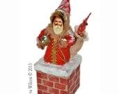 Spun Cotton Santa on Chimney Victorian Inspired OOAK Christmas Folk Art Ornament Gift Box