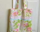 Tote from Vintage Fabric for Spring and Summer, Pink and Green with Eyelet, Upcycled, Only One
