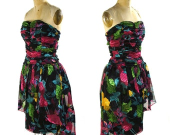 SALE Jessica McClintock Floral Cocktail Dress / Vintage 1980s Strapless Evening Gown with Boned Bodice and Asymmetrical Train