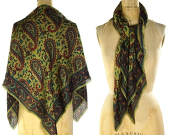 90s Paisley Silk Scarf / Vintage 1990s Large Square Silk Scarf / Floral & Paisley Pattern / Indian Hippie Boho Ethnic Gypsy Bohemian Shawl