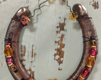 Beaded Horseshoe with Resin Flower