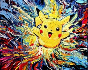 Pikachu Pokemon Art - Starry Night Giclee print van Gogh Never Met His Neighbor by Aja 8x8, 10x10, 12x12, 20x20, and 24x24 choose size