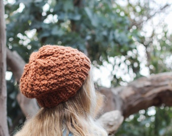 Rust Knit Chunky Beanie Winter Hat, Orange Copper Color, Texture, Slouchy, Wool Blend