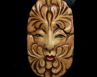 Greenman Face Cab Earthy shades of brown, beige, green copper leaf spirit Cabochon polymer clay beading focal