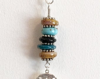 Lampwork and Sterling Silver Pendant   srajd  handmade  summer beach holiday