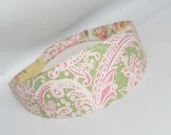 Fabric Headband, Women's Headband, Women Hairband, Reversible Fabric Hairband, Fashion Accessories, Pink Paisley Teen Headband