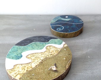 She felt small but alive, one of a kind Mounted Print, on round wood slice,  2 pieces included