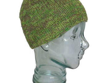 Wool and Silk Beanie Hat - Green and Gray