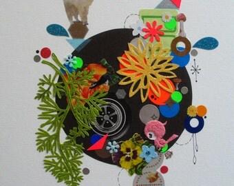 Kittens & Mushrooms Original Collage on Paper-Llamas-Flowers-More!