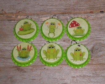 Set of 6 Lime Neon Green Bottle Cap Charms Frogs Party Favors Charms Miniature Tree Ornaments Jewelry Zipper Pulls
