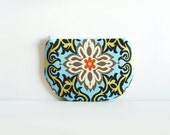 Coin Purse, Small Zipper Pouch, Women and Teens, Mini Wallet, Amy Butler, Temple Garland in Sky
