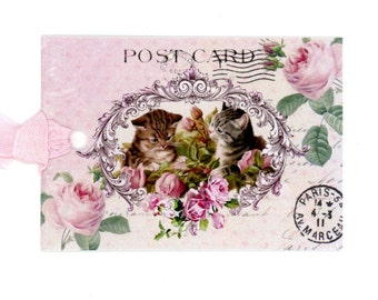 Vintage Kittens Gift Tags , Pink Rose Tags , Pink and Green , Shabby and Chic , Vintage Tags , Cat Tags , Postcard Tags , Bluebird Lane