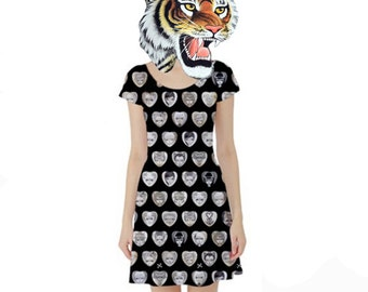 "Extra Large ""Black Hearts"" Dress. Big Eyed Art Punk Rock Clothing by Megan Besmirched SALTY DAME"
